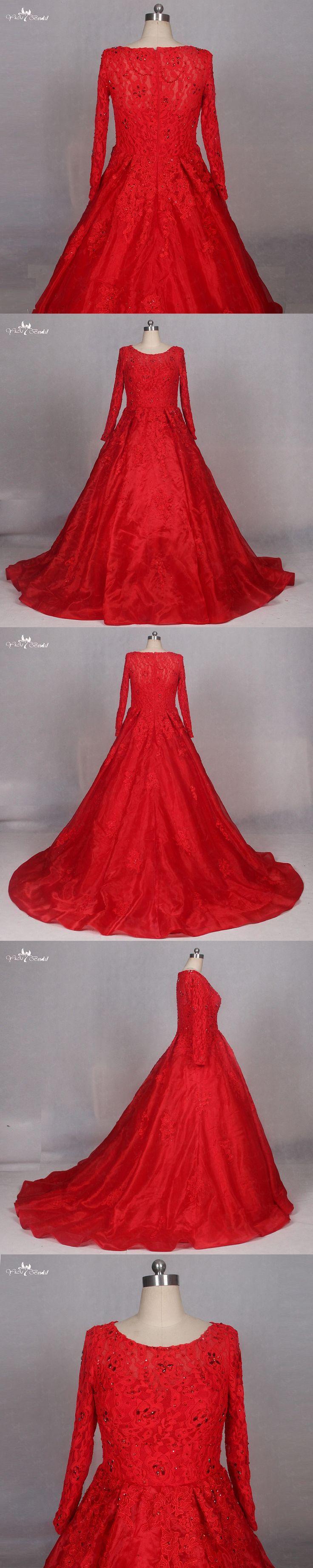 LZ184 Red Wedding Dress Long Sleeve Muslim Wedding Dress Ball Gown Crystal Wedding Dresses
