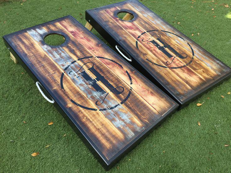 barnwood custom cornhole board set - Corn Hole Sets