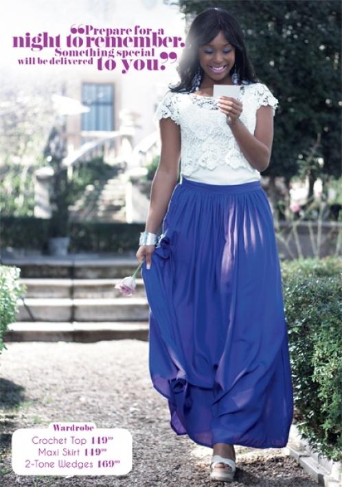 Minnie rocking a gorgeous maxi skirt and blouse from the Minnie Series. #LEGiT #MinnieDlamini