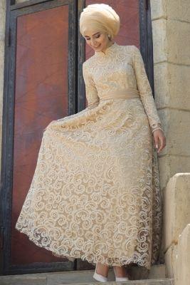 Nur Banu Gold Azra Abiye Elbise