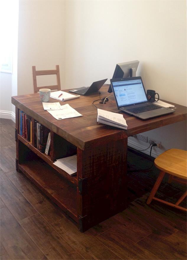 Industrial Style Reclaimed Wood Partner Desk and Shelving Combo - www.reclaimedbespoke.co.uk