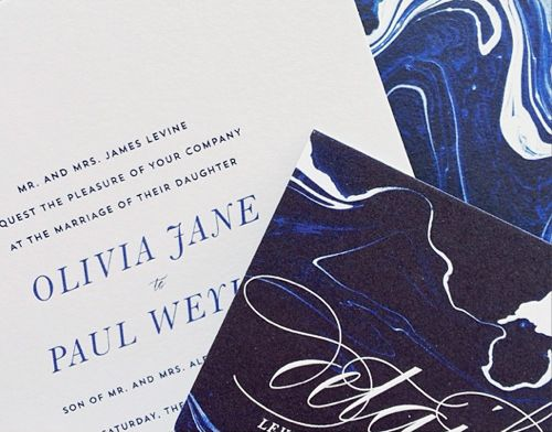 marbled wedding invitations in blue by hello tenfold
