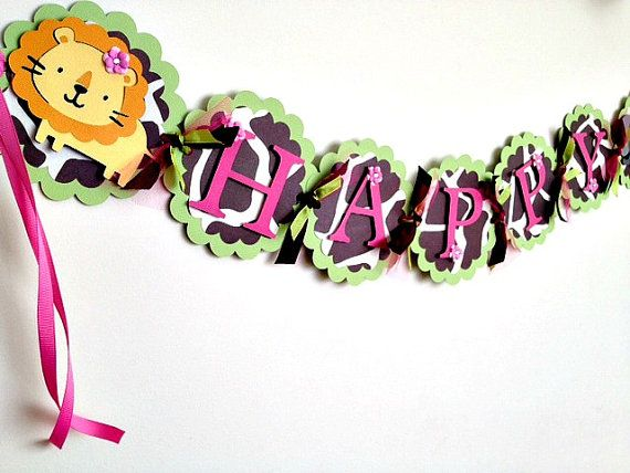Girl Jungle Animal Safari Happy Birthday Banner by AngiesDesignz, $30.00