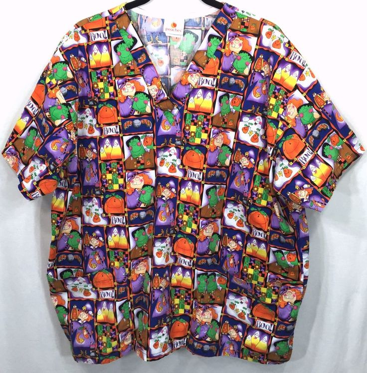 Halloween Scrub Top Womens XL V Neck Witches Bats Ghosts Pumpkins Frankenstein #Peaches