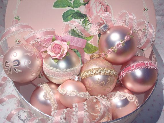 Shabby Chic-Victorian Pink Christmas Bulbs with Ribbon, Lace, Paper Roses, and Decorative hanging hook with Swarovski Crystal Set of 2 Bulbs