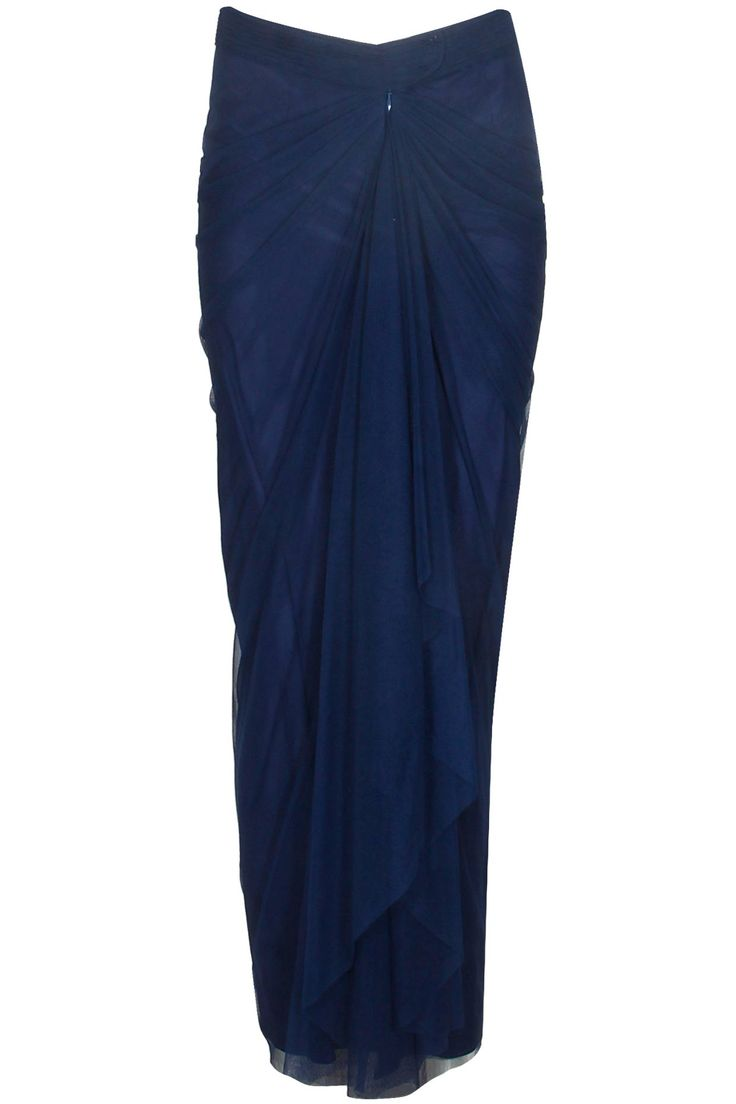 Navy blue vintage tulle saree skirt available only at Pernia's Pop Up Shop.#perniaspopupshop #shopnow #resortwear #autumnwinter #designer #clothing #newcollection #happyshopping #maliniramani