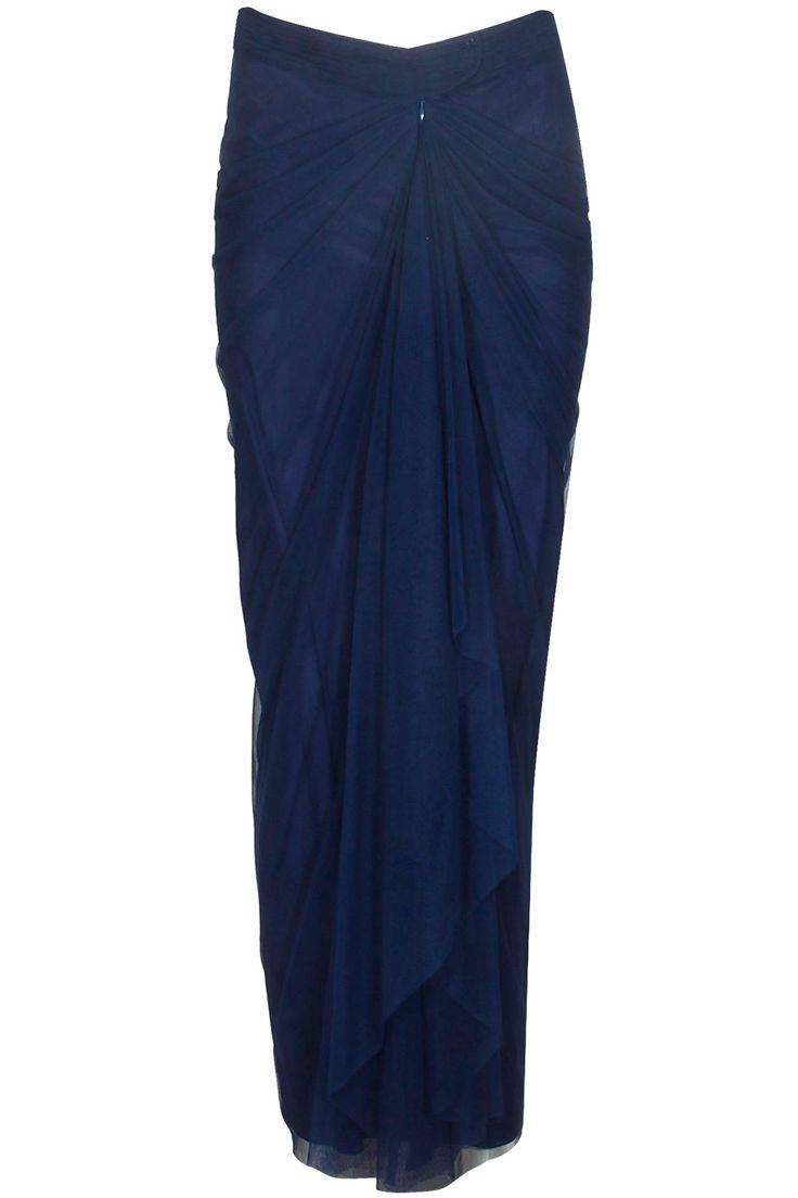 Navy blue vintage tulle saree skirt available only at Pernia's Pop Up Shop.#perniaspopupshop #shopnow #resortwear #autumnwinter #designer #clothing #newcollection #happyshopping #maliniramani