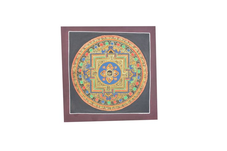 PRODUCT DESCRIPTION Mandala is regarded as a place separated and protected from the ever changing and impure outer world of samsara.Round mandala thangka painti