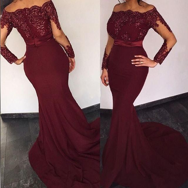 Burgundy Prom Dresses,Lace Evening Dress,Sexy Prom Dress,Prom Dresses With Long Sleeves,Charming Prom Gown,Open Back Prom Dress,Mermaid Fashion Evening Gowns for Teens
