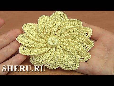 Мастер-класс по вязанию цветка для кружева Урок 38 Crochet Irish Big Flower - YouTube