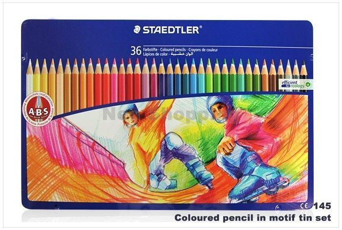 Staedtler Coloured Pencil in Motif Tin Set 24 Colors 145 SPM36 Drawing Sketching #Staedtler