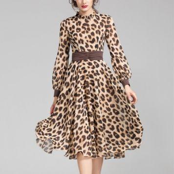 Women's Leopard Print Slimming Chiffon Pleated Long Sleeve Dresses