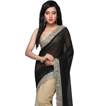 Black and Beige Faux Georgette and Net Saree with Blouse