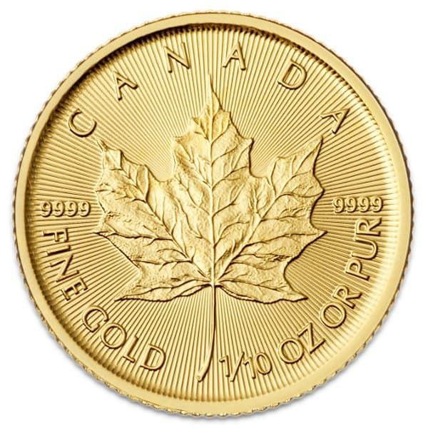 1 10 Oz Canadian Maple Leaf Gold Coin Maple Leaf Gold Gold Coins Gold Bullion Coins