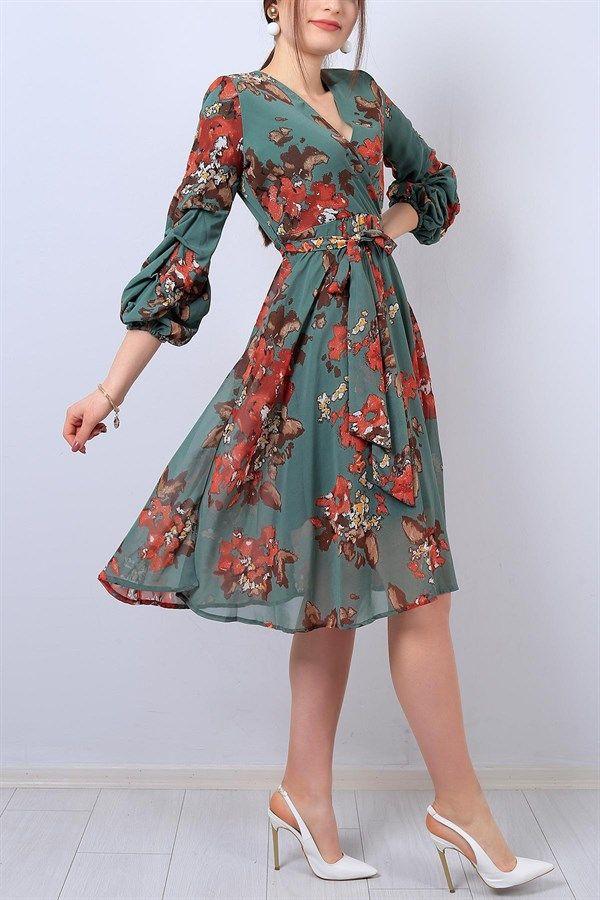 72 95 Tl Yesil Kruvaze Yaka Bayan Sifon Elbise 13625b Modamizbir Sifon Elbise Elbise Moda Stilleri