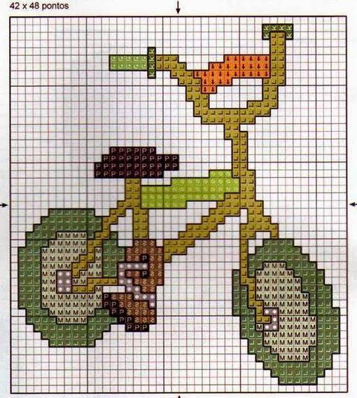 **Blog Amor Perfeito** Gráficos de ponto cruz: Bicicletas