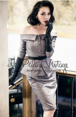 Le Palais Vintage-Limited Edition - Silver Off The Shoulder Suit Set