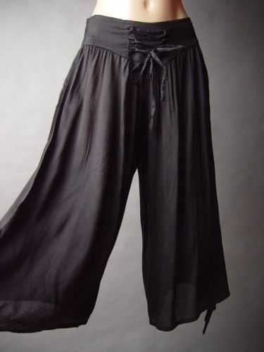 Black Steampunk Pirate Buccaneer Corset Style Tie Waist Wide Leg Cropped Pants S | eBay