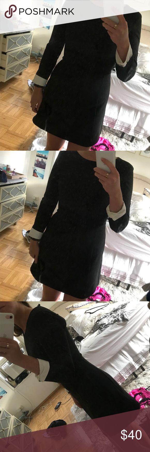 Zara black dress- medium Black dress from Zara- super cute! White cuffs, 3/4 sleeves. Zara Dresses