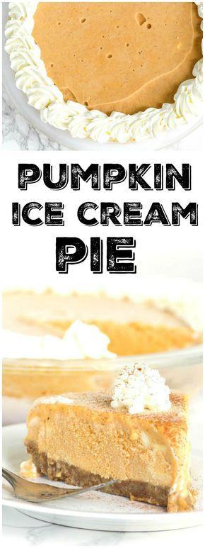Easy Pumpkin Ice Cream Pie Recipe - from RecipeGirl.com : this is a super easy dessert recipe to put together!
