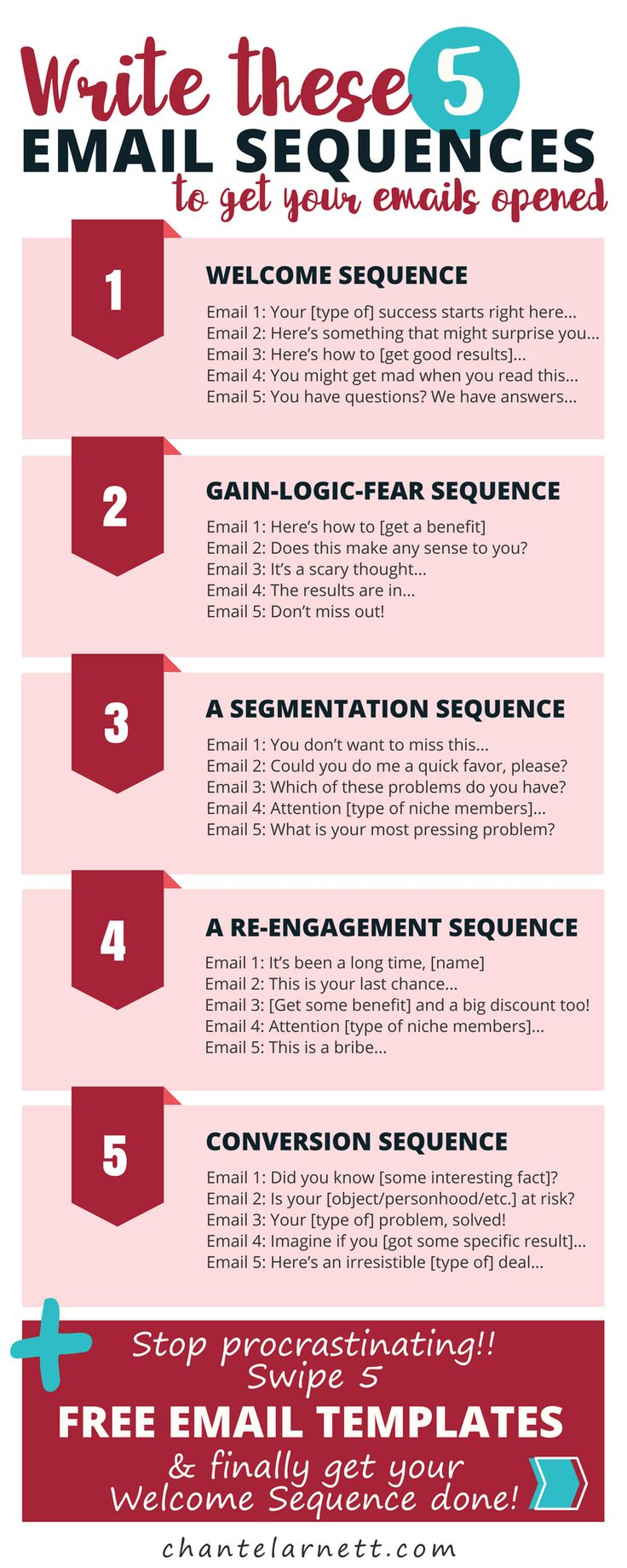 Need help writing an engaging and effective welcome email sequence?  You'll ❤️ this freebie!  5 email sequence templates to help you stop procrastinating and finally get your welcome sequence done! #emailmarketing #emailnewsletter