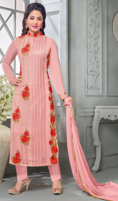 Wondrous Light Pink Designer Embroidered Faux Georgette Suit