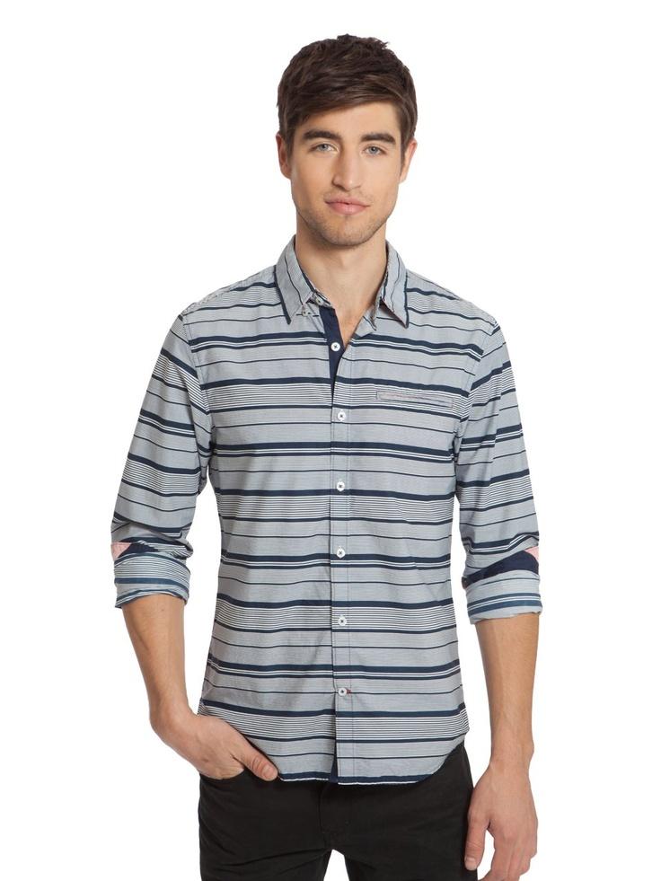 GUESS Summit Striped Long-Sleeve Shirt, NIGHTFALL BLUE (XL)