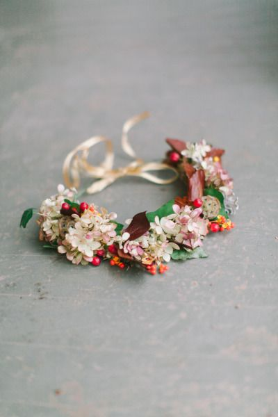 Fall floral crown: http://www.stylemepretty.com/wisconsin-weddings/2015/01/21/elegant-bohemian-photo-shoot-at-dover-farm/ | Photography: Kate Weinstein - http://www.kateweinsteinphoto.com/