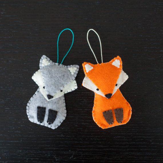 felt grey fox ornament wolf decorative ornament by ThreadAndFelt