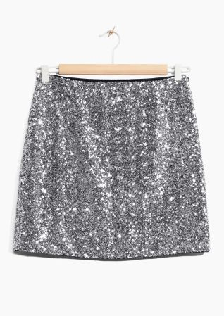 & Other Stories | Silver Sequin Skirt