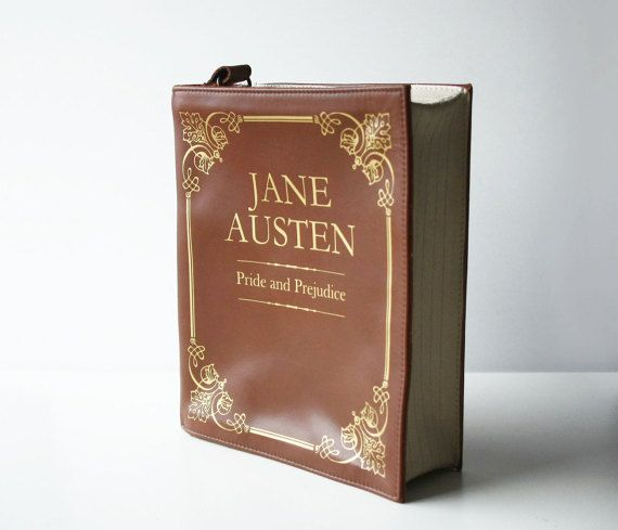 $170. Jane Austen Leather Book Bag Brown Leather Book Purse