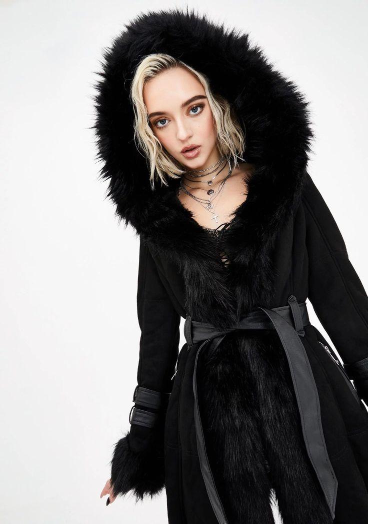 Black yukon fur coat fur coat coat embellished denim