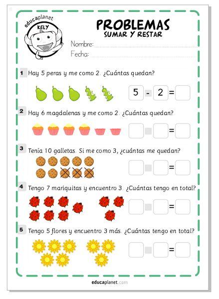 Ejercicios sumar restar: tres fichas GRATIS desde nivel Infantil de matemáticas hasta Segundo de Primaria, para niños de 5 hasta 8 años.