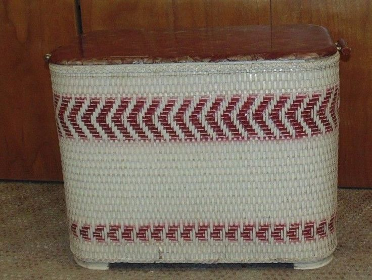 Vintage Wicker Laundry Hamper Cream W Red Stripes And Lid