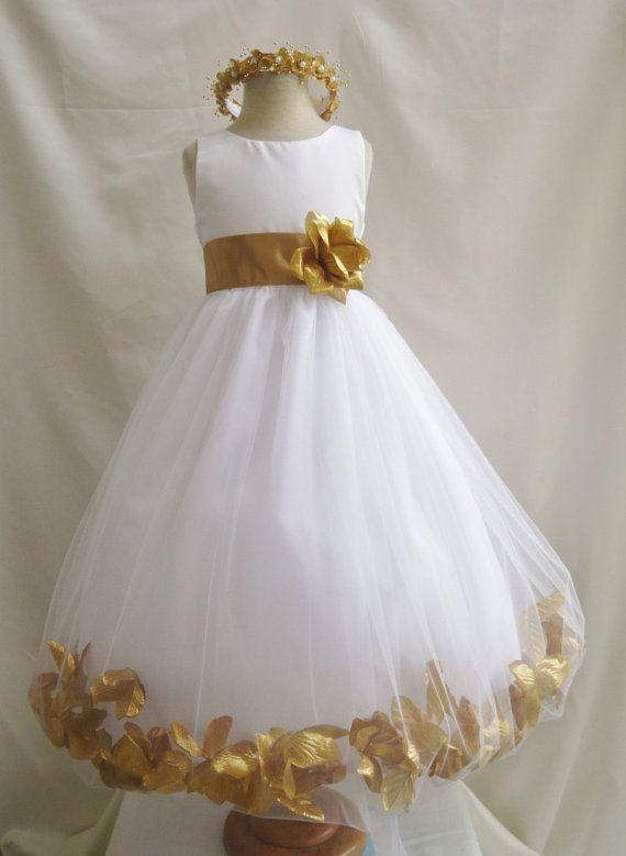 1a5b19f78da Flower Girl Dress WHITE w  Gold PETAL Wedding by LuuniKids on Etsy ...