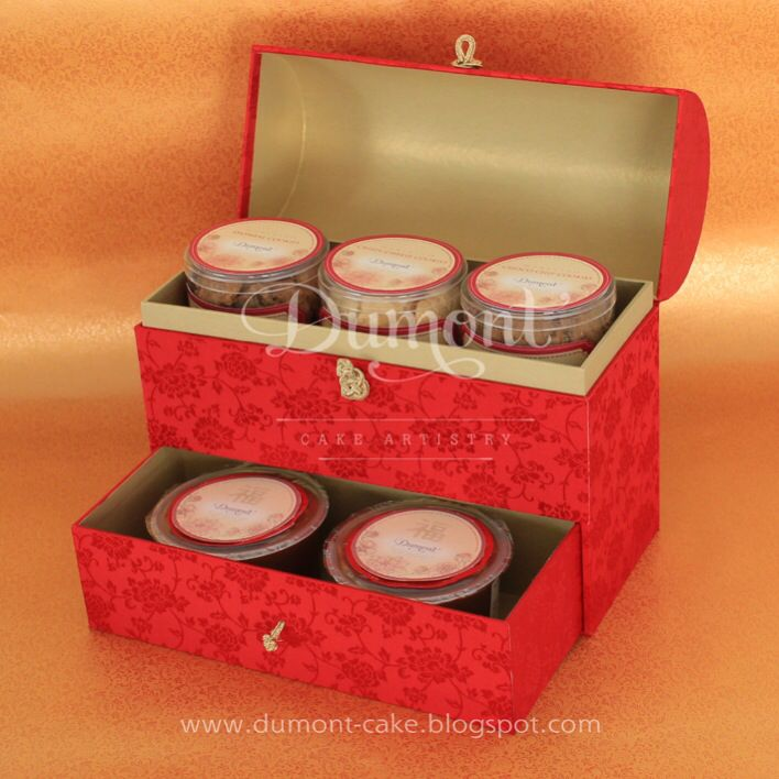 Chinese new year cookies & kue keranjang in a red treasure box completed with a drawer