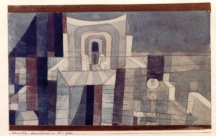 Architecture in Red and Green - Paul Klee  1921 Watercolor  14.7 x 26.2cm