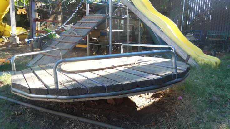 merry-go-round out of a trampoline frame that spins on a car hub bearing assembly Created By: Dustin West dustpan@live.com