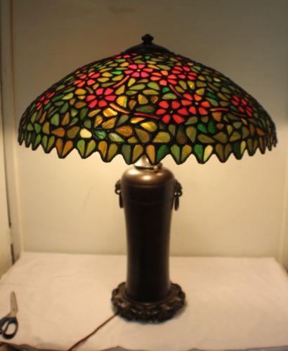 Vintage Handel Bronze Signed Lamp W Unique Glass Co