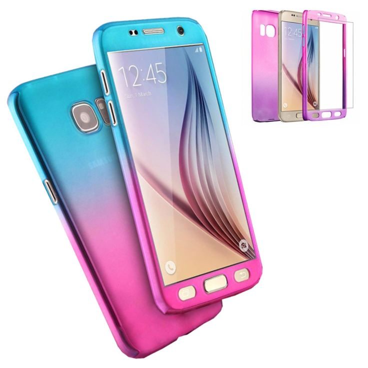Bakeey™ Gradient Color 360° Full Protection Cover Case With Tempered Glass for Samsung Galaxy S7