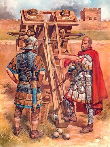 Roman catapult. A catapult is any siege engine which uses an arm to hurl a projectile. The Roman version was called an onager. Projectiles included both arrows and (later) stones.