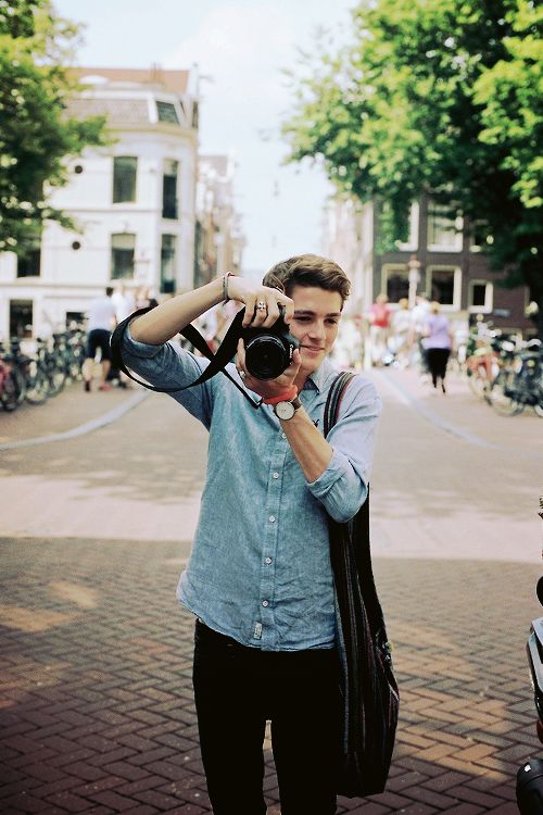 """ Finn Harries in Amsterdam, photographed by Emma, August 2014. """
