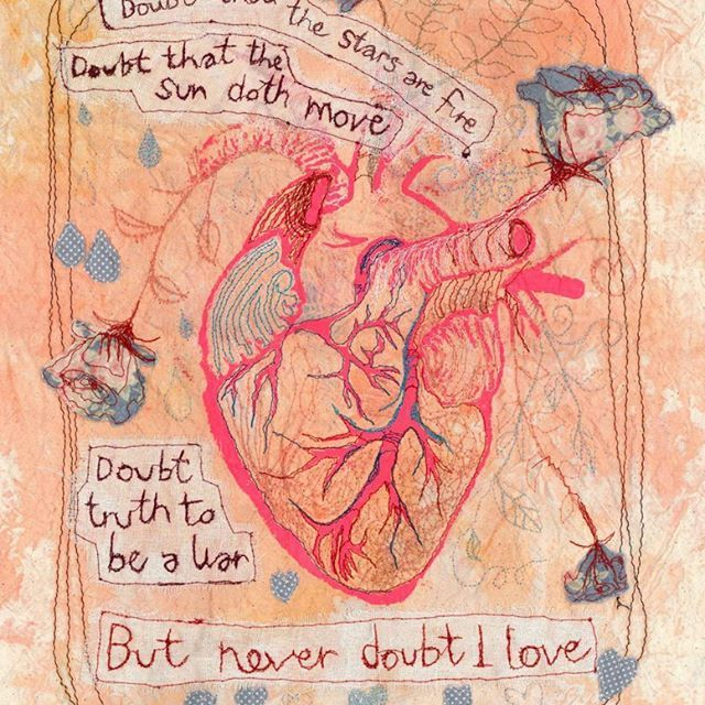 One for @buffalorose - a #screenprint #anatomical #heart with quotes from #hamlet. Freehand embroidery throughout the hanging. #torielliottillustration #toridraws  www.torielliott.co.uk #illustration #shakespeare #hamlet #heart #anatomicalheart #victorianbiology #freehandembroidery #embroidery #screenprint #stitch #sew #mixedmedia