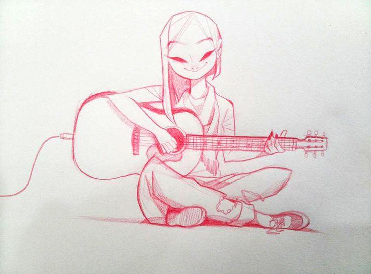 ArtStation - Playing a guitar., MinJung Kim