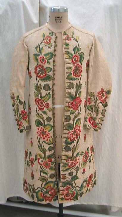 Waistcoat, British, early 18th century, linen, silk, metallic thread, MET