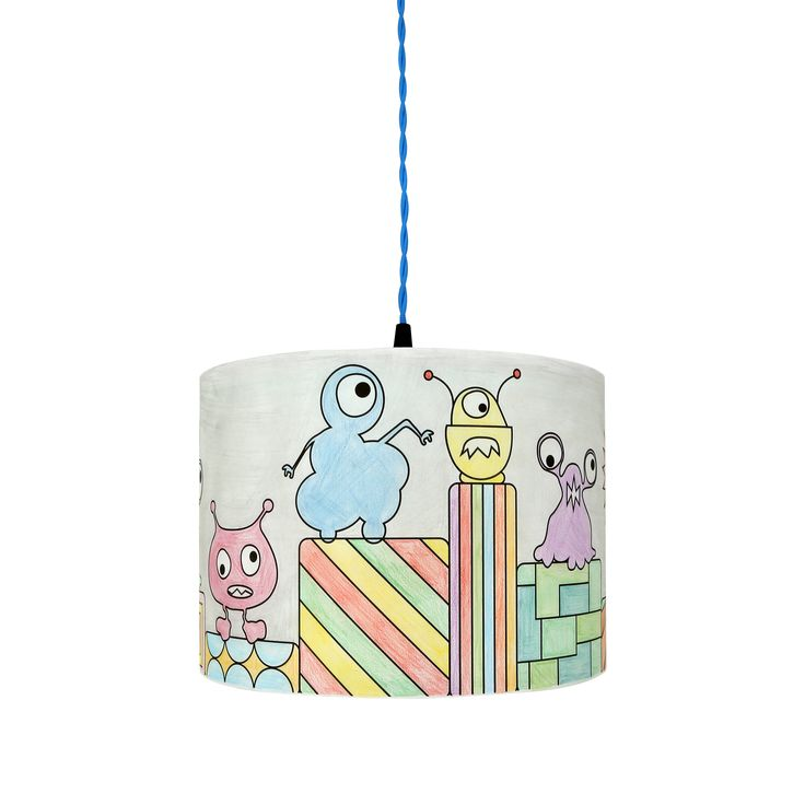 A finished Monsters World Mullan Kids Colour Me Lampshade