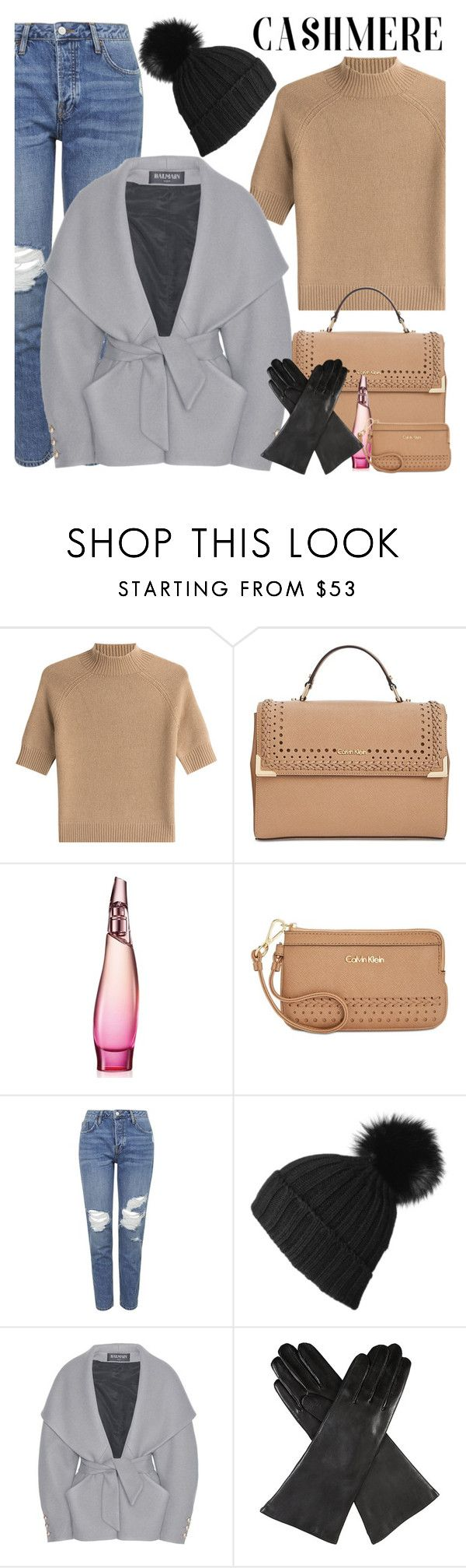 """Cozy Cashmere Sweaters"" by sabinakopic ❤ liked on Polyvore featuring Theory, Calvin Klein, Donna Karan, Topshop, Black, Balmain, Dents and cashmere"