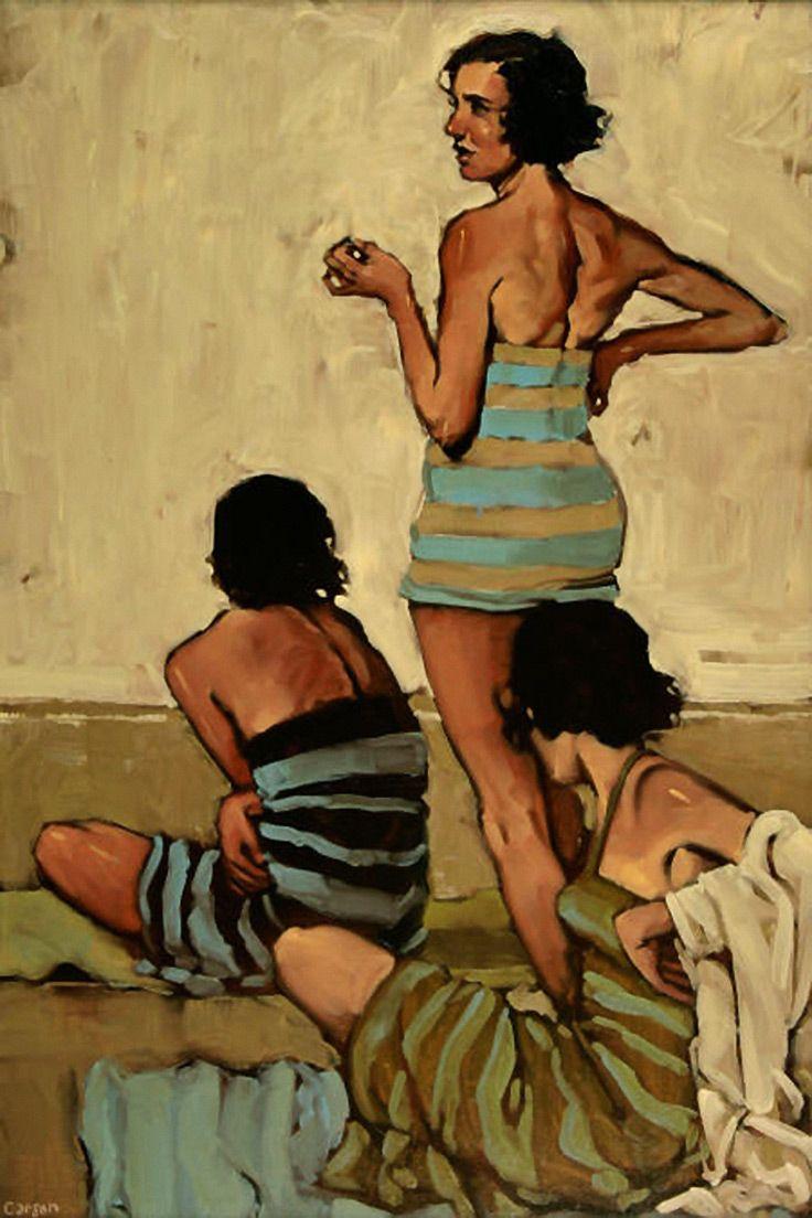 """""""Beach Stripes"""" - Michael Carson {contemporary figurative artist three females…"""