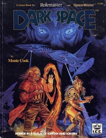 Product Line: Rolemaster  Product Edition: RM2  Product Name: Dark Space  Product Type: Genre Book  Author: ICE  Stock #: 1301  ISBN: 1-55806-140-1  Publisher: ICE  Cover Price: $16.00  Page Count: 160  Format: Softcover  Release Date: 1990  Language: English
