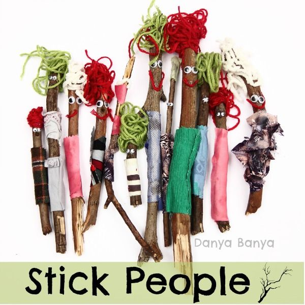 Make a Stick Person! Heck, make a Stick Community! Fun, open-ended craft that preschoolers (and toddlers) can do all by themselves, and work on their fine-motor skills at the same time. Plus you get some free DIY dolls to roleplay with at the end! ~ Danya Banya